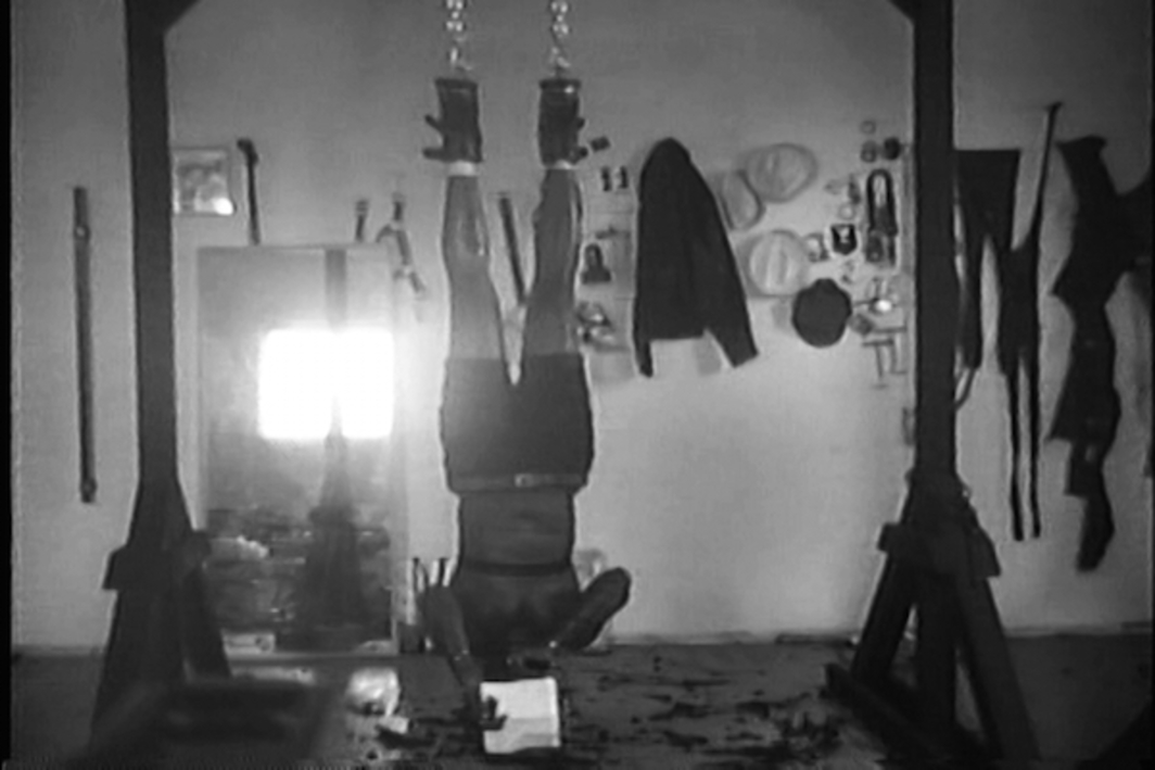 Tiona Nekkia McClodden, The Brad Johnson Tape, X - On Subjugation, 2017, video, black-and-white, sound, 2 minutes 24 seconds.