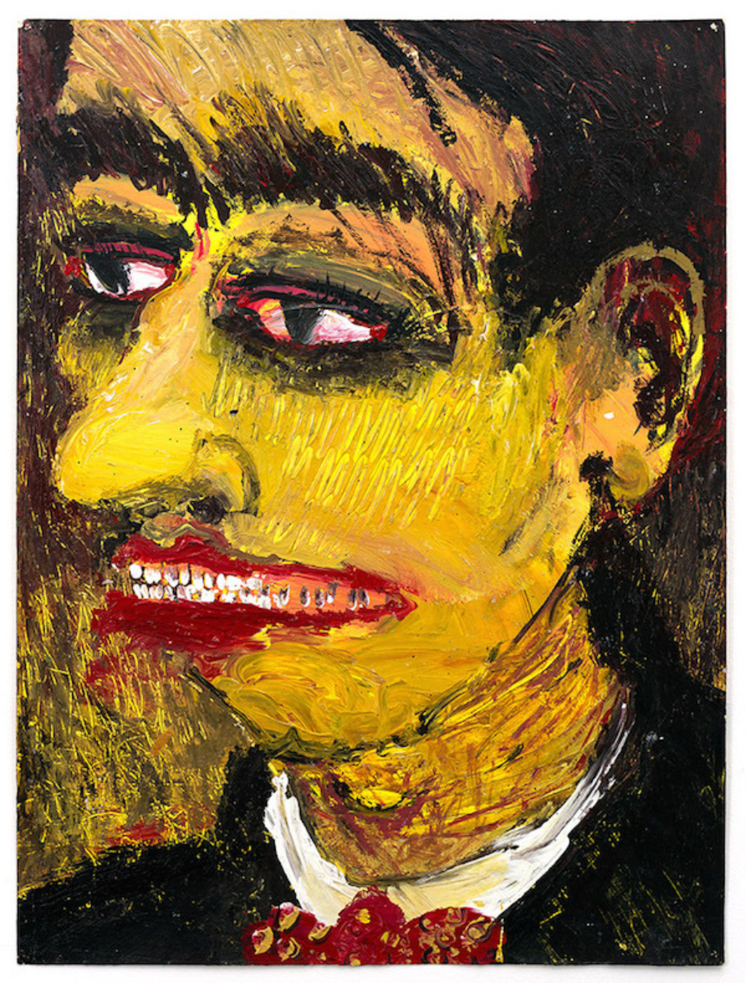 "Tabboo!, Self-Portrait, 1982, acrylic on found advertising paper, 27 x 20"". Photo: Max Lee."