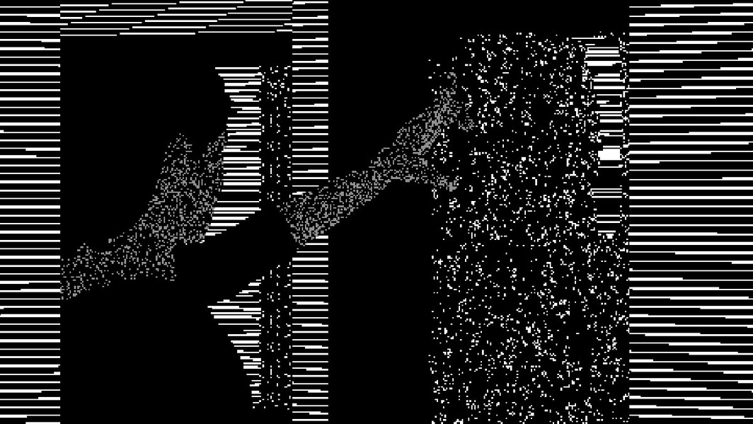 Peter Burr, Pattern Language, 2017, video, black-and-white, sound, 10 minutes.