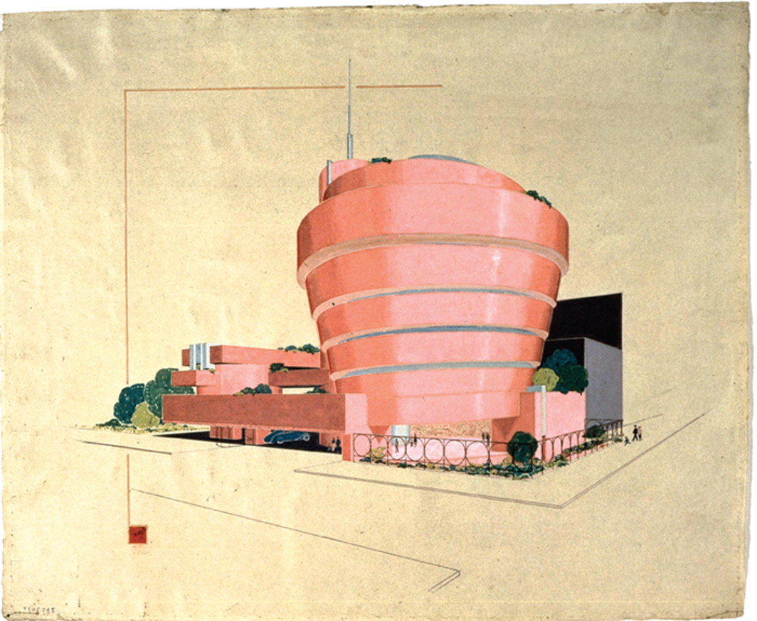 "Frank Lloyd Wright, Solomon R. Guggenheim Museum, New York, ca. 1943–59, gouache on paper mounted on board, 20 × 24 1/4""."