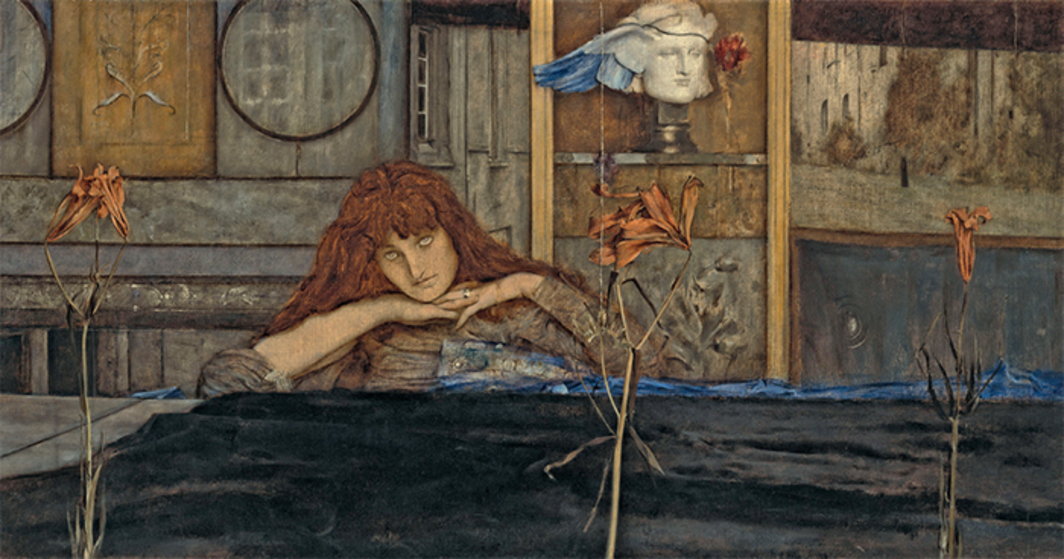 "Fernand Khnopff, I Lock My Door upon Myself, 1891, oil on canvas, 28 5/8 × 55 1/2""."