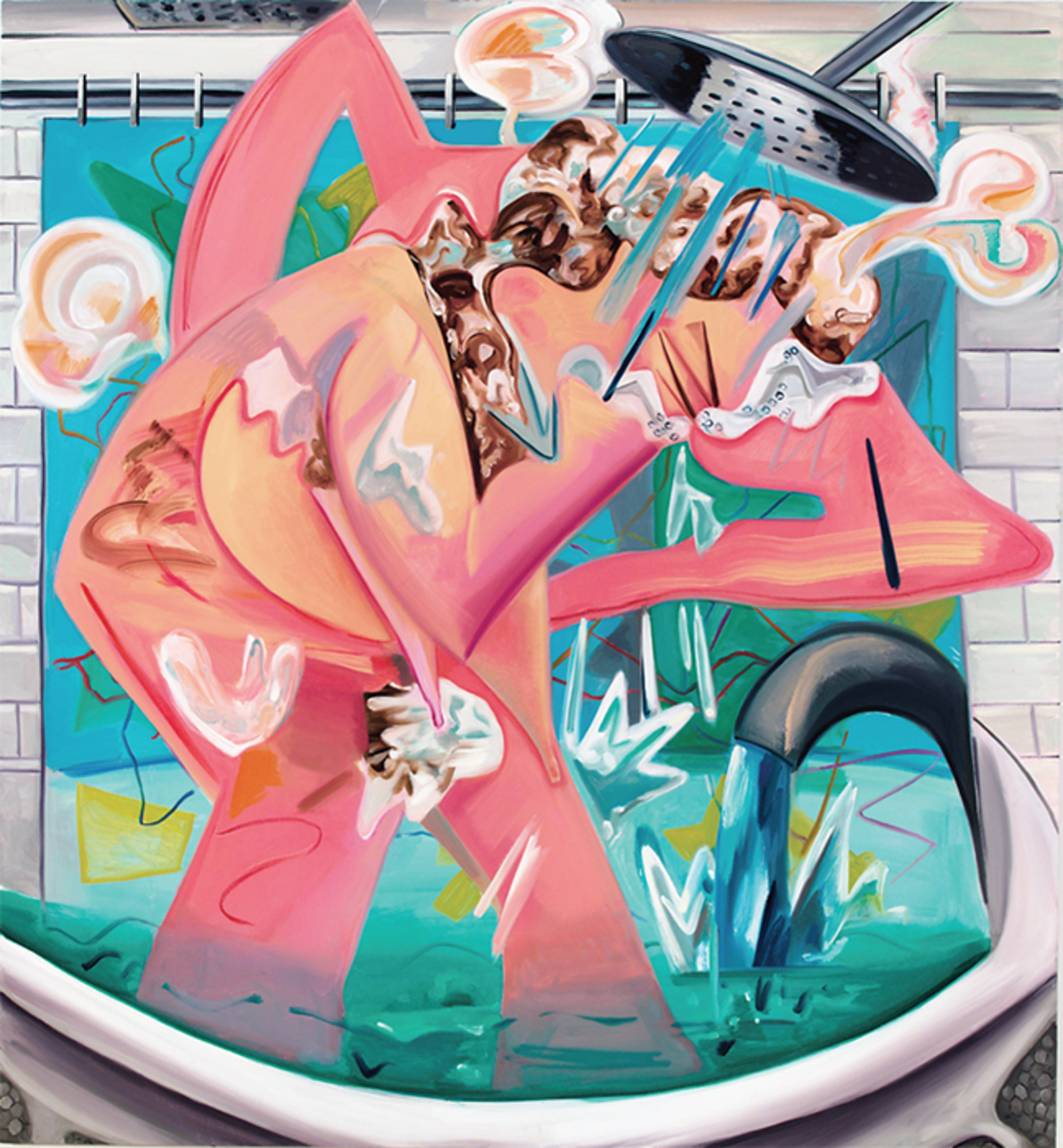 "Dana Schutz, Slow Motion Shower, 2015, oil on canvas, 78x72""."