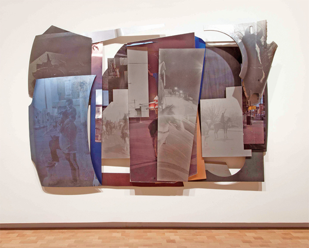 "Mohamed Bourouissa, The City, 2016, gelatin silver print, spray paint, and lacquer on car metal plate and car body parts, 691/4x983⁄8x113/4""."
