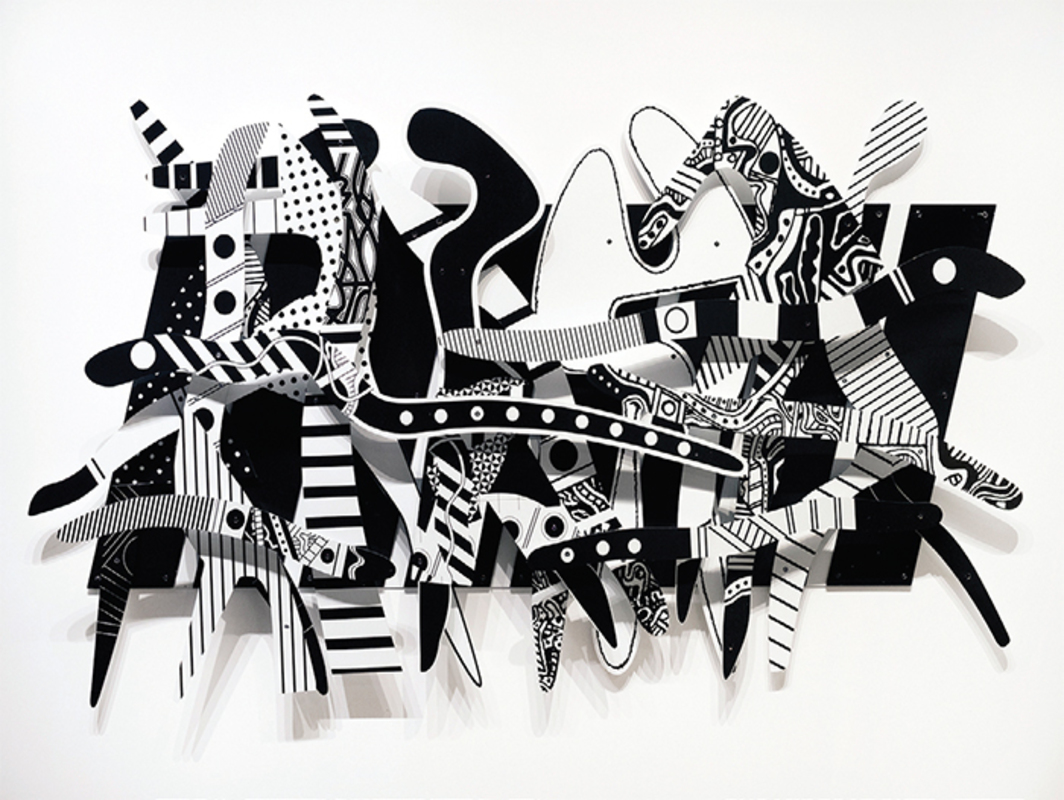 "Charles McGee, Rhapsody in Black and White, 2008, ink jet on Dibond, 60 x 118 x 4""."