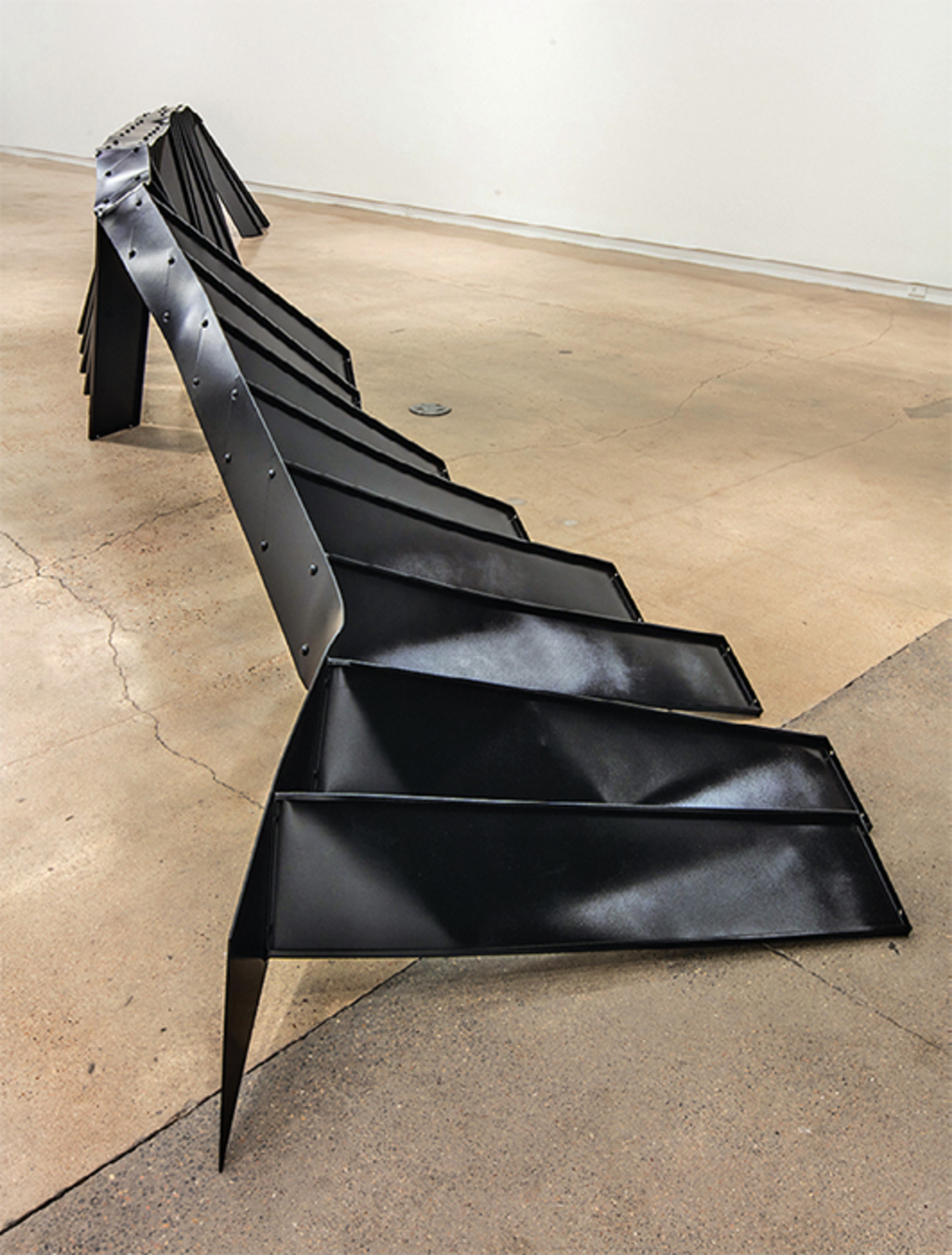"Monika Sosnowska, Stairs, 2016, steel, paint, 3' 11 1/4"" x 5' 87⁄8"" x 34' 93/8""."