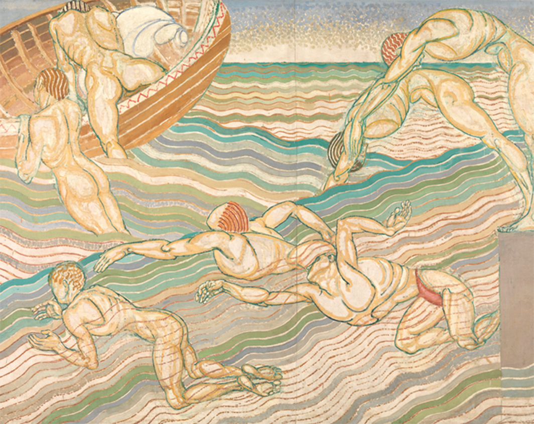 "Duncan Grant, Bathing, 1911, oil on canvas, 7' 6"" x 10' 1/2"". From ""Queer British Art 1861–1967."""