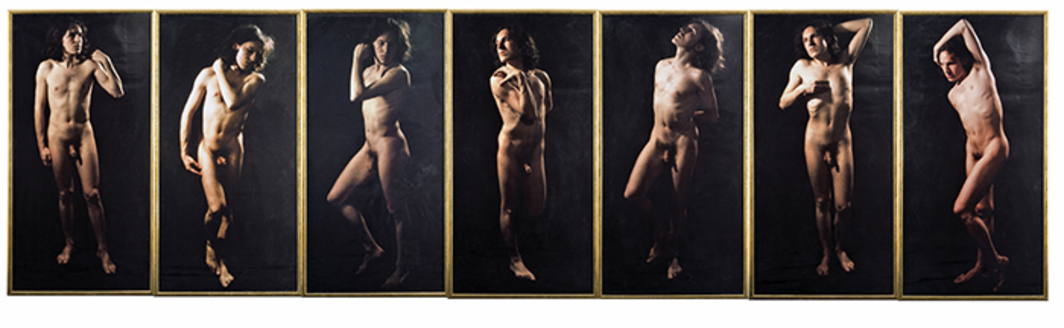 "Luigi Ontani, David d'après Michelangelo, 1970, seven color photographs, overall 6' 1"" x 25' 3""."