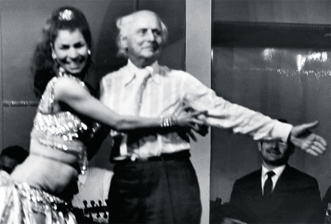 "Waddah Faris, Max Ernst taking belly dance lessons, The Fontana Cabaret, Beirut, 1969, gelatin silver print, 13 3/4 x 16 1/2""."