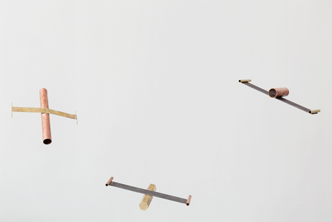 Diego Pérez, Tlapucata I–IV, 2017, copper, brass, iron, dimensions variable.