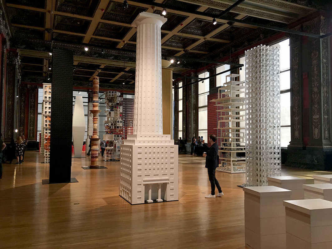View of Vertical City installation at Chicago Cultural Center.