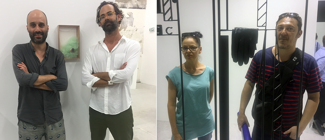 Left: Artist Martin Soto Climent and curator Chris Sharp. Right: Artists Marie Péjus and Christophe Berdaguer.
