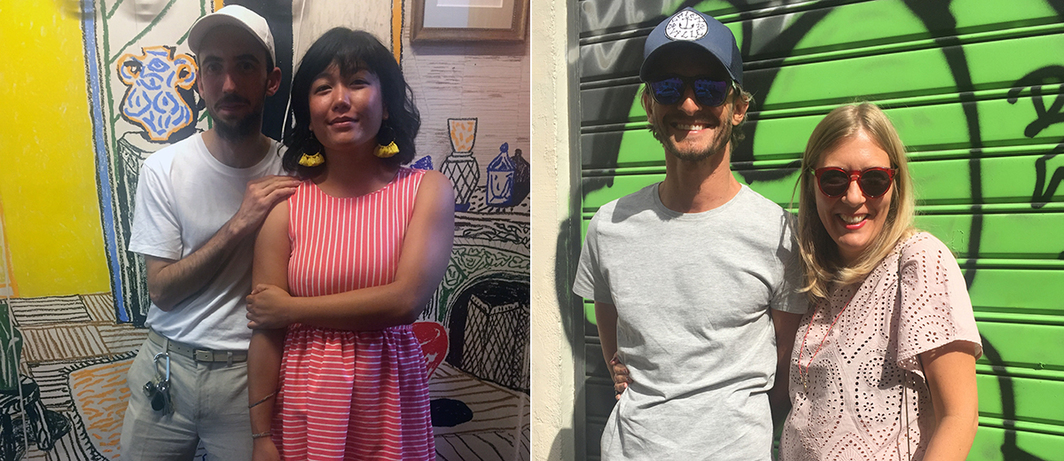 Left: Artists Alexandre Benjamin Navet and Coraline de Chiara. Right: Artists Olivier and Julie Millagou.