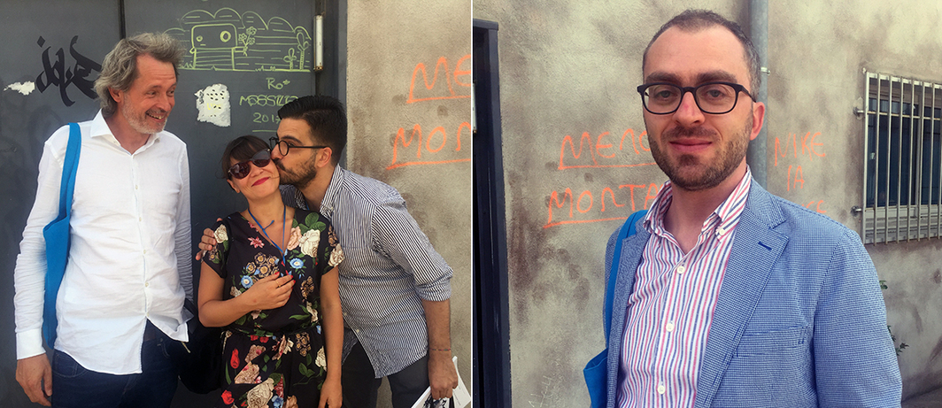 Left: Curator Lorenzo Benedetti with dealers Nerina Ciaccia and Antoine Levi. Right: Curator Luigi Fassi.