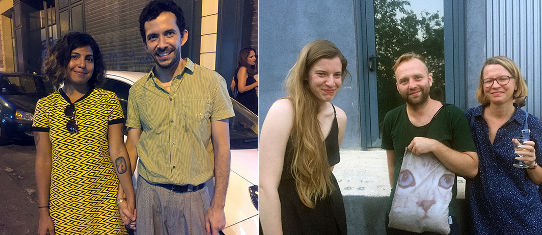 Left: Curator Maria Inés Plaza and artist Santiago Reyes. Right: Dealers Dawid Radziszewski, Maja Demska, and Paulina Wrocławska.