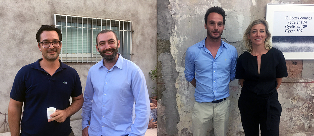 Left: Dealer François Ghebaly and curator Vincent Honoré. Right: Dealers Axel Dibie and Alix Dionot-Morani.