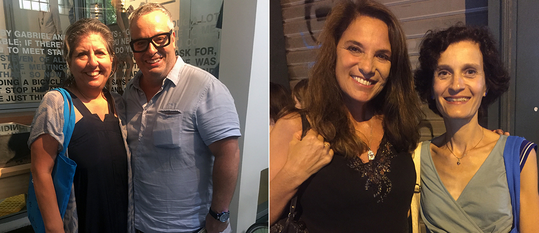 Left: Dealer Shirley Morales and collector Miguel Leal Rios (of Leal Rios Foundation). Right: Dealer Claudia Cargnel and Cirva's Isabelle Reiher.