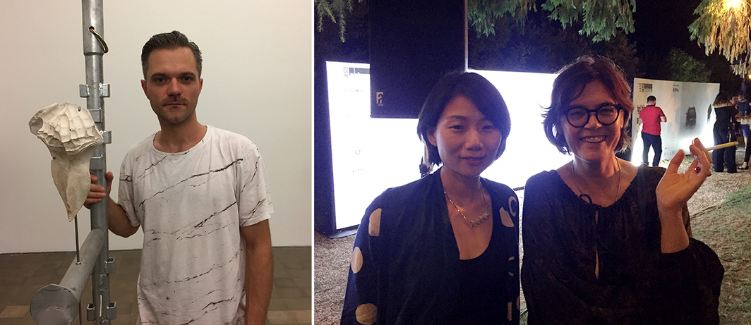 Left: Artist Dan Stockholm. Right: ArtReview Asia editor Aimee Lin and director of the Centre for Contemporary Art in Singapore Uta Meta Bauer.