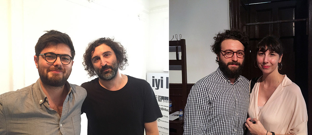 Left: Artists Ali Taptık and Cevdet Erek. Right: Artist Volkan Şenozan and curator and writer Ulya Soley.