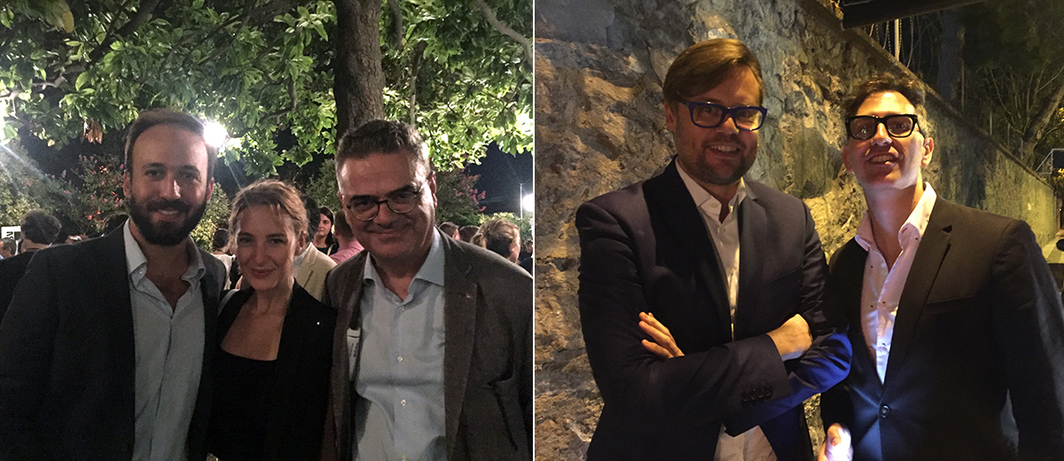 Left: Dealer Doğa Öktem, Sena Pakkan, and dealer Roupen Kalfayan. Right: Curators Till Fellrath and Sam Bardaouil of Art Reoriented.