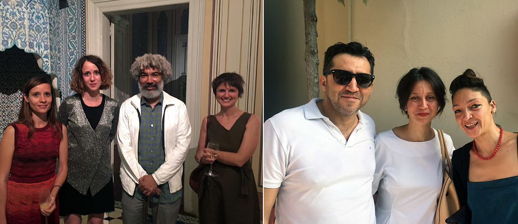 Left: Istanbul Biennial exhibition coordinator Elif Kamışlı, public program coordinator Zeyno Pekünlü, and artists Fred Wilson and İz Öztat. Right: Istanbul Biennial Eexhibition coordinator Özkan Cangüven and director of the biennial Bige Örer with artist Gözde İlkin.