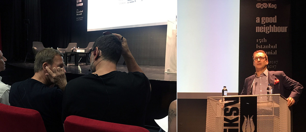 Left: Michael Elmgreen and Ingar Dragset at the press conference of the fifteenth Istanbul Biennial. Right: Koç Holding Chairman Ömer M. Koç speaking at the press conference of the fifteenth Istanbul Biennial.