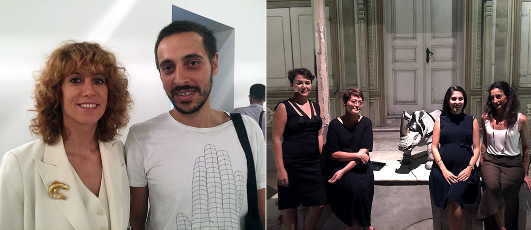 Left: SAHA Association's director Merve Çağlar and project coordinator Yavuz Parlar. Right: Arter's communications director İlkay Baliç, curator Başak Doğa Temür, exhibitions director Gizem Uslu Tümer, and curator Eda Berkmen with a sculpture by an anonymouıs artist from the Ömer M. Koç collection.