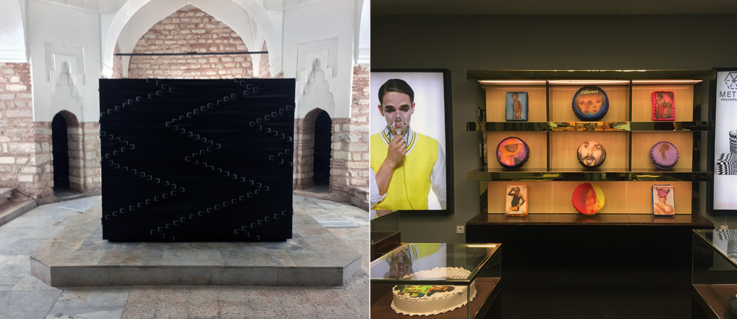 Left: Monica Bonvicini's Belt Out, 2017, at the Küçük Mustafa Paşa Hammam. Right: View from Jonah Freeman & Justin Lowe's Scenario in the Shade, 2015–17, at the Galata Greek Primary School.