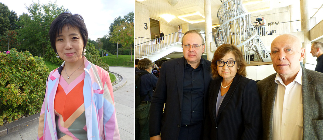 Left: Moscow Biennale curator Yuko Hasegawa. Right: Moscow Biennale Expert Council Members Semyon Mikhailovsky, Zelfira Tregulova, and Joseph Backstein. (Except where noted, all photos: Kate Sutton)