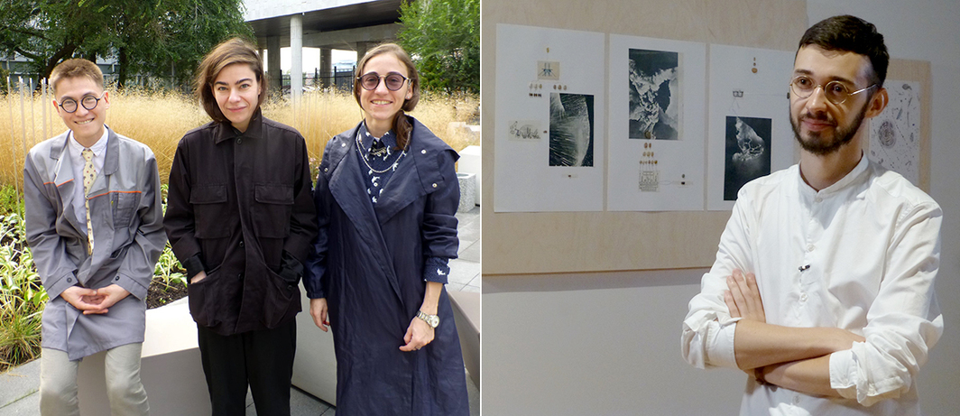 Left: Critic Egor Sofronov with artists Anastasia Potemkina and Alina Gutkova. Right: Artist Ilya Fedotov-Fedorov.
