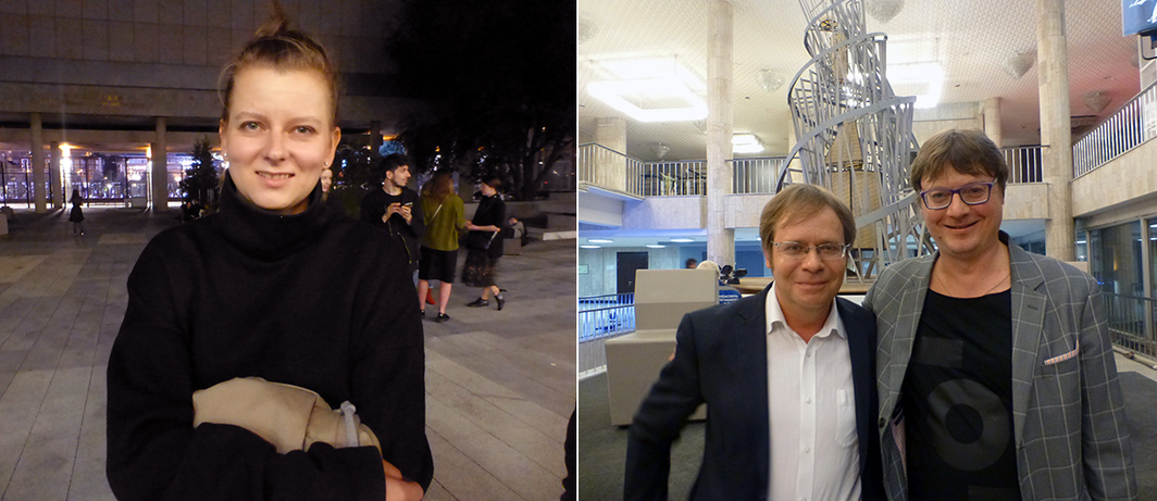 Left: Garage curator Katya Inozemtseva. Right: Tretyakov Gallery curator Kirill Svetlyakov with critic and art historian Sergey Khachaturov.