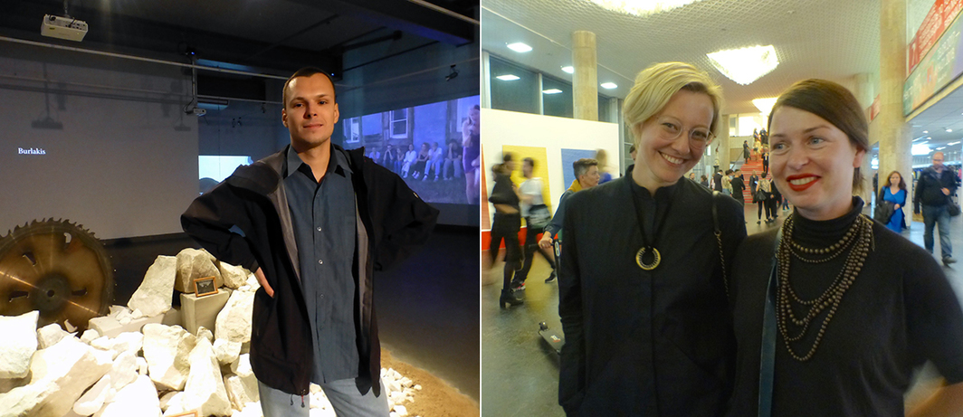 Left: NCCA curator Sasha Burenkov. Right: ROSIZO NCCA's Alisa Prudnikova and Masha Gurnina.