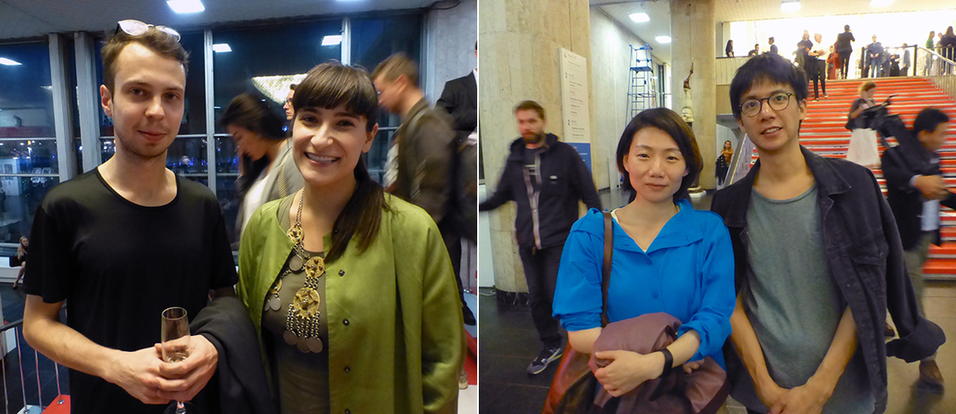 Left: Critic Andrey Shental with artist Taus Makhacheva (right). Right: ArtReview Asia's Aimee Lin with artist Nadim Abbas.
