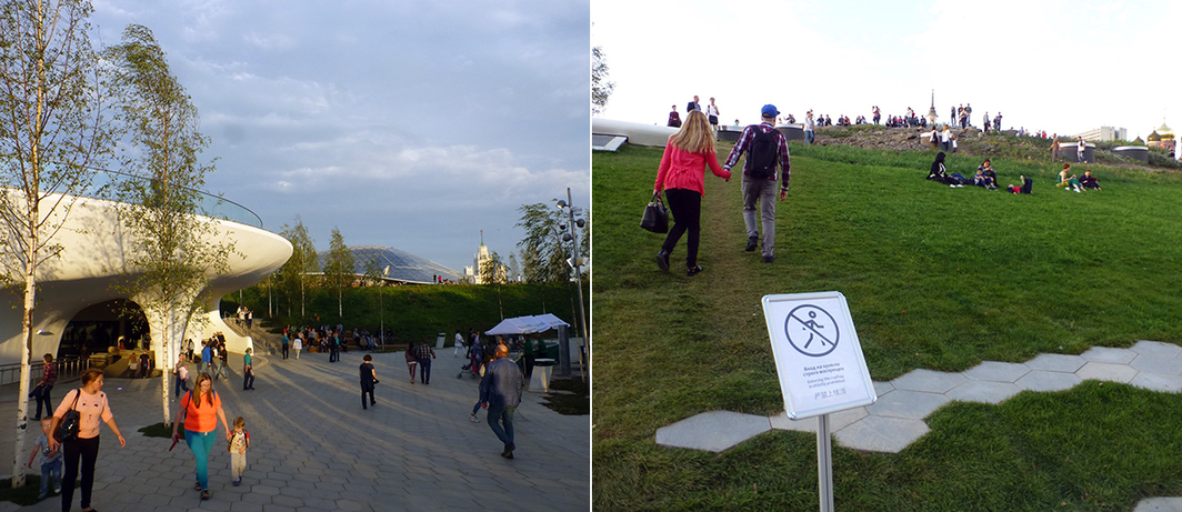 Left: A view of Zaryadye Park. Right: A sign warning visitors not to walk on the green roof at Zaryadye Park.