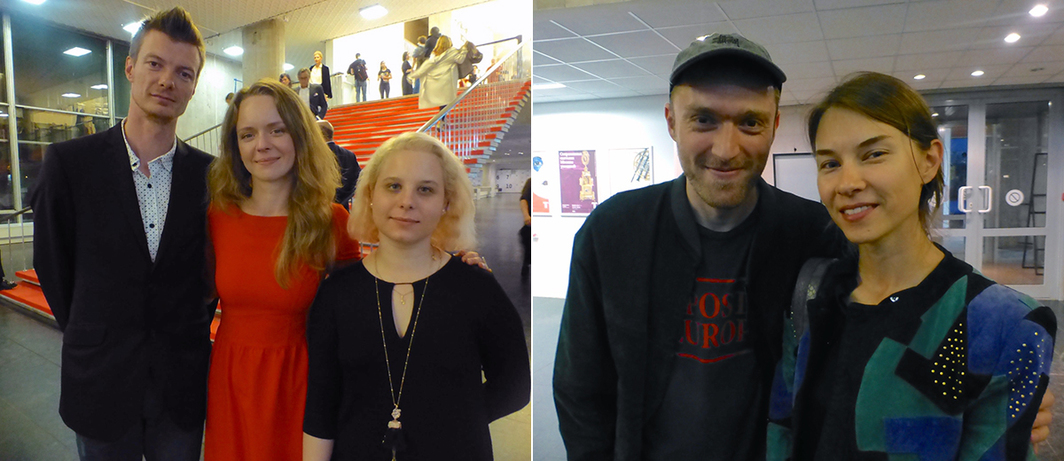 Left: Alexander Lyakovich with Moscow Biennale team Kristina Vronskaya and Anna Sapozhnikova. Right: Artist Arseny Zhilyaev with his partner Katya.