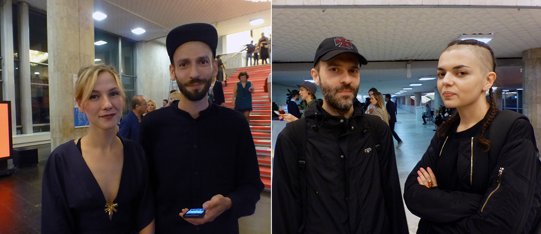 Left: Artist Andrey Syaylev with Lana. Right: Artists Alexander Obrazumov and Antonina Baever.