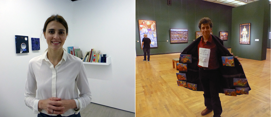 Left: Christie's Daria Evtyukhova with works by Daria Irincheeva. Right: Sasha Petrelli's Overcoat Gallery.