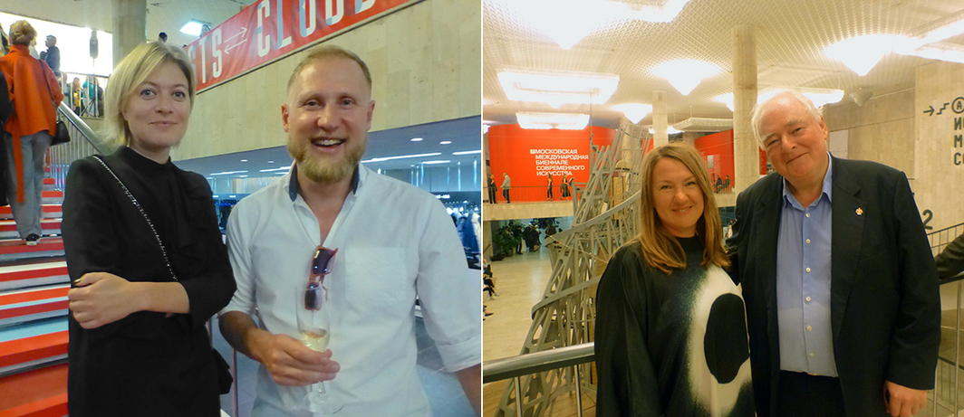 Left: GRAD's Elena Sudakova with art historian Vlad Strukov. Right: The Art Newspaper's Inna Bazhanova and cultural ambassador Nic Iljine.