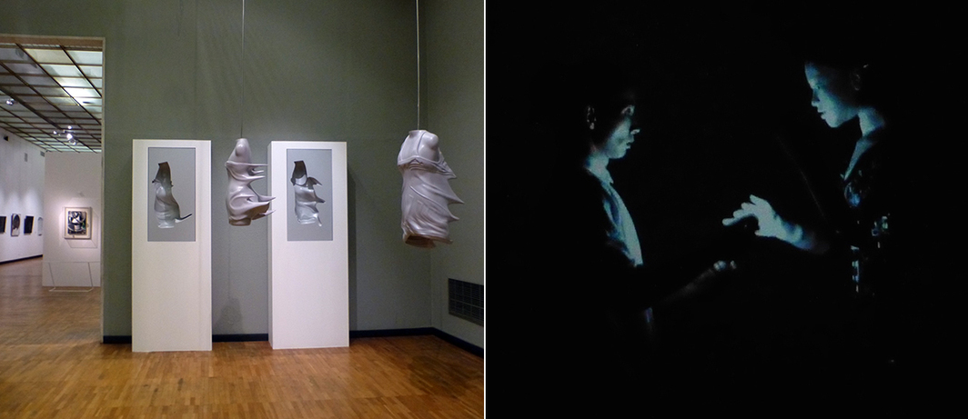 Left: Hussein Chalayan's installation within sight of Lyubov Popova's relief, Jug on Table. Right: Still from Justine Emard and Mirai Moriyama's Co(AI)xistance.