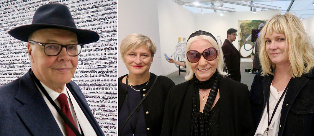 Left: Dealer Nicholas Logsdail. Right: Dealer Agnieska Rayzacher, artist Nalalia LL, and curator Alison Gingeras. (All photos: Linda Yablonsky)