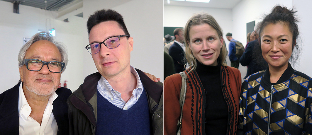 Left: Artist Anish Kapoor and curator Mario Codagnato. Right: Collector Silka Rittson-Thomas and artist Shio Kusaka.