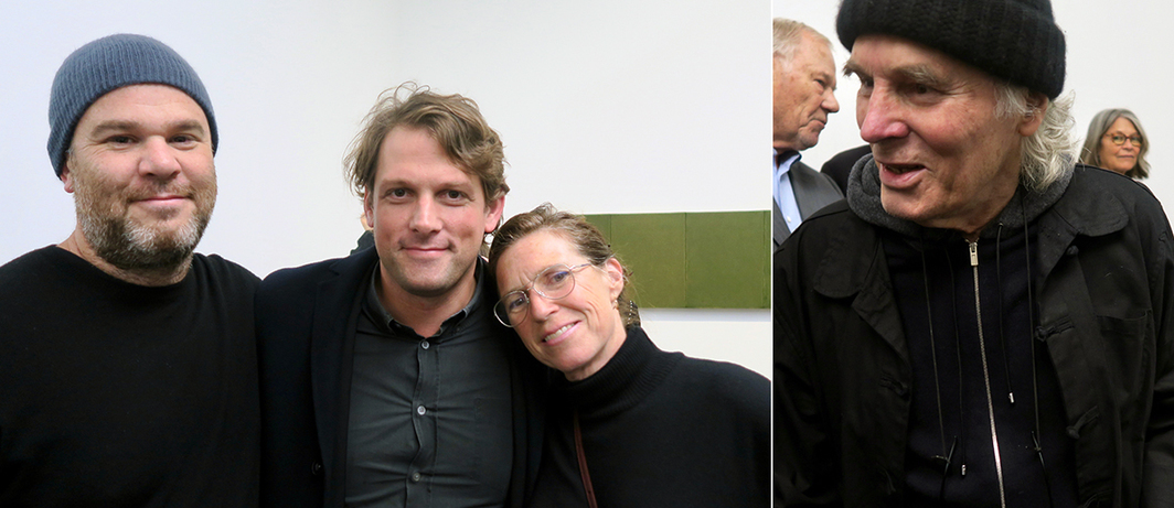 Left: Artist Jonas Wood, dealer Brendan Dugan, and artist Mary Weatherford. Right: Artist Brice Marden.