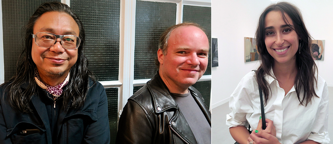 Left: Artist Rirkrit Tiravanija and collector Dillon Cohen. Right: Artist Chloe Wise.