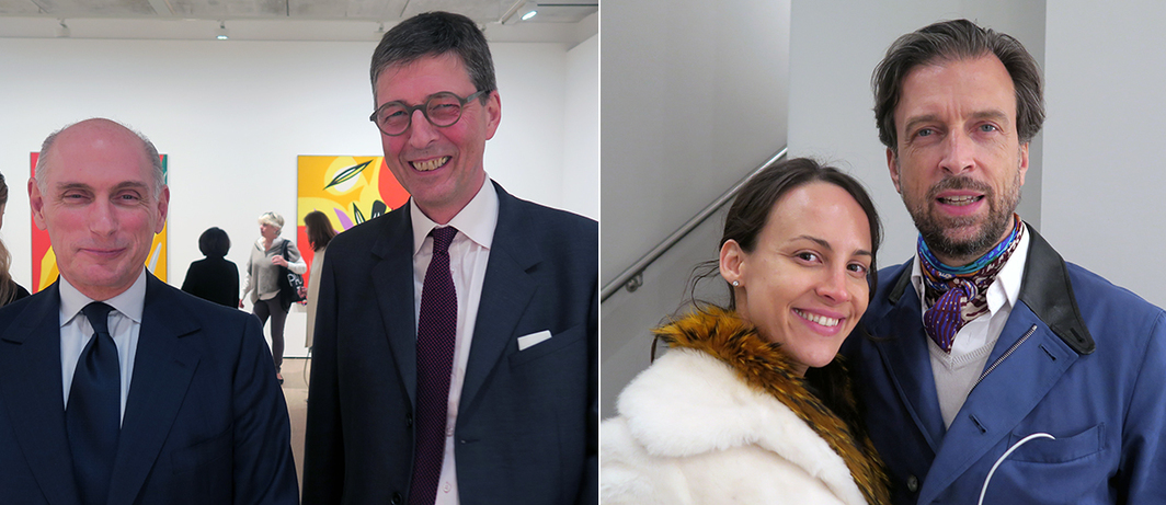 Left: Collector Bernard Ruiz Picasso and dealer Aurel Scheibler. Right: Collectors Eva Fernandez Ruiz and Alain Servais.