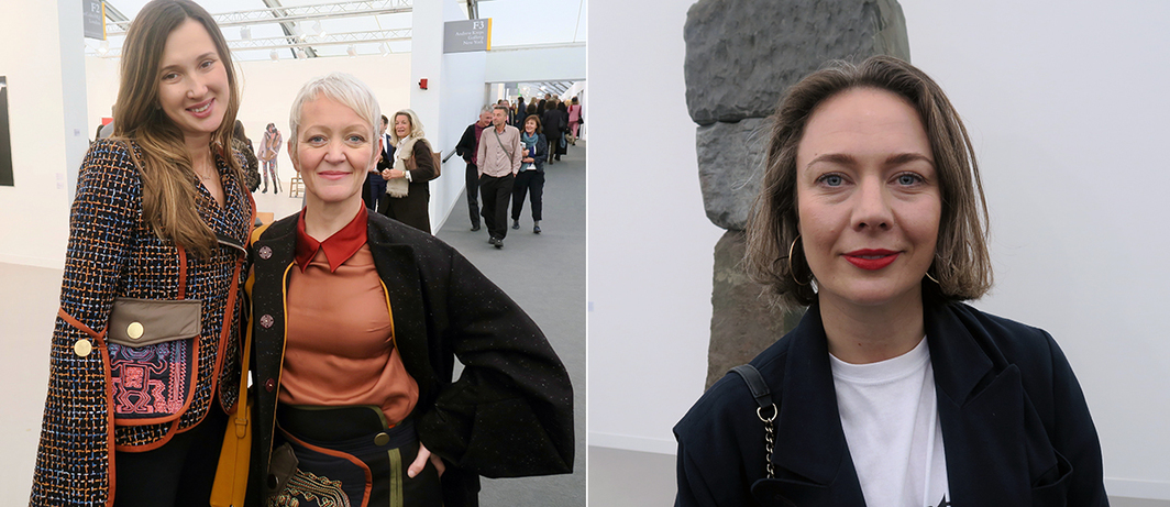 Left: Collector Maria Baibakova and Tate Gallery director Maria Balshaw. Right: Dundee Contemporary Arts director Beth Bate.