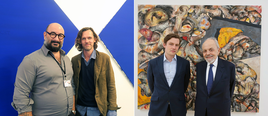 Left: Dealer George Vamvakidis and artist Slater Bradley. Right: Dealers Ed Spurr and Gilbert Loyd.