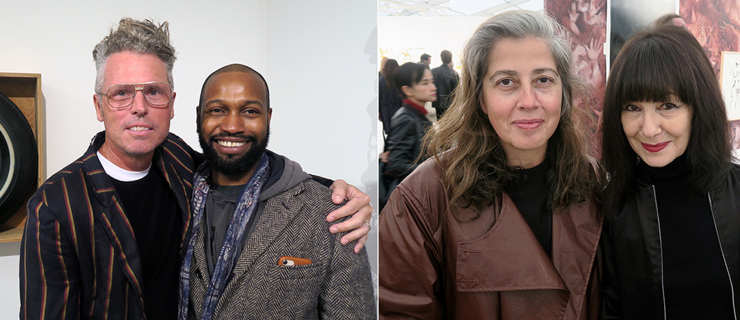 Left: Dealer Bill Powers and artist Nathaniel Mary Quinn. Right: Artist Leonor Antunes and Performa founder RoseLee Goldberg.