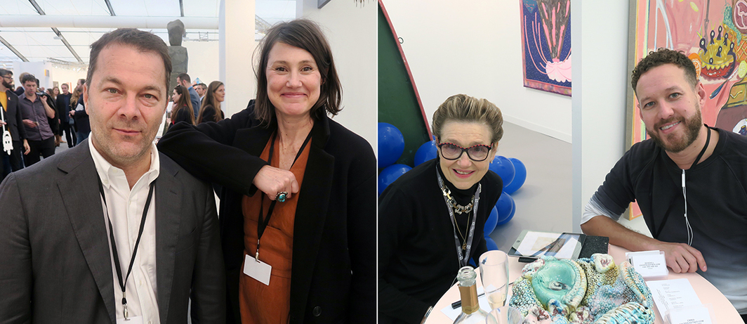 Left: Dealers Liz Mulholland and Andrew Kreps. Right: Collector Rodica Seward and dealer Kendall Koppe.