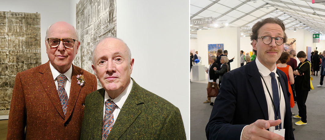 Left: Artists George Passmore and Gilbert Prousch (aka Gilbert & George). Right: Dealer Johann König.
