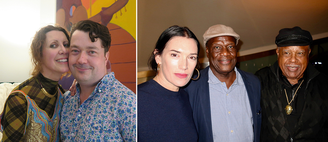 Left: Collector Valeria Napoleone and Studio Voltaire director Joe Scotland. Right: Artist Sarah Morris, filmmaker and writer Manthia Diawara, and artist Melvin Edwards.