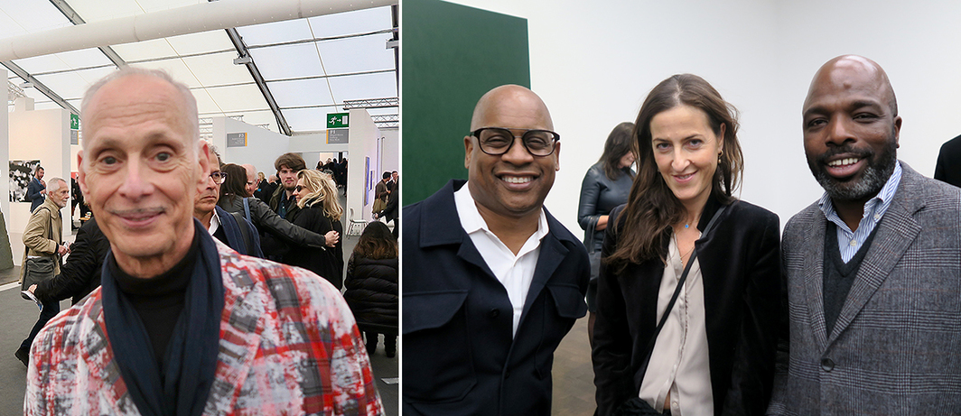 Left: Filmmaker, artist, and writer John Waters. Right: Artist Glenn Ligon, curator Aphrodite Gonou, and designer Duro Olowu.